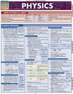 Physics Laminated Reference Guide Reference and outline to concepts in physics. 6-page laminated guide covers: • 2- & 3-dimensional coordinate systems • vector algebra • fluid mechanics • waves & heat