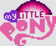 My Little Pony Logo Perler Bead Pattern / Bead Sprite Pony Bead Patterns, Kandi Patterns, Hama Beads Patterns, Beading Patterns, Cross Stitch Horse, Cross Stitch Baby, Cross Stitch Designs, Cross Stitch Patterns, My Little Pony