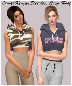 Sleeveless Crop Hood at Lumy Sims • Sims 4 Updates
