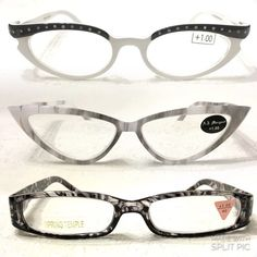 6d6974ed9a61 +1.00 NEW 3pr Reading Glasses White Grey Cat Eye 3 NEW pairs of +1.00 power reading  glasses. They average 5 1 4
