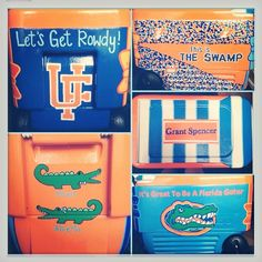 UF themed cooler I want to make.dream school beyond words Cute Crafts, Crafts To Do, Florida Gators Gear, Gator Game, Frat Coolers, Fraternity Coolers, Bubba Keg, Cooler Painting, Florida Girl