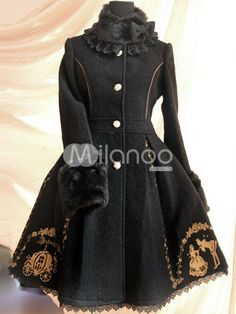 Negro clásico Tweed algodón proa escudo vestidos de Lolita - Milanoo.com
