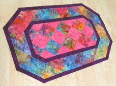 Quilted Table Runner Reversible  Rainbow Batik 248 by QuiltinWaYnE, $43.00