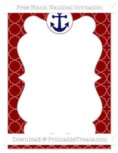 Free Dark Red Quatrefoil Pattern  Blank Nautical Invitation