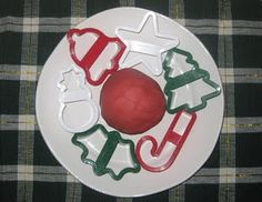 Red, Peppermint scented playdough (homemade). Page also has a Christmas sensory tub idea on it