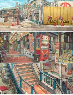 Enjoy The Art of Tekkon Kinkreet in gallery of Concept Art & Background Art made for the movie. Tekkonkinkreet is a three-volume seinen manga series by Environment Concept Art, Environment Design, Animation Background, Art Background, Bd Art, Japon Tokyo, Bg Design, Visual Development, Fantasy Landscape