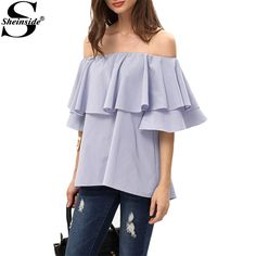 Cheap blouse blouses, Buy Quality blouse style directly from China blouse material Suppliers:         Sheinside Cute Off The Shoulder Summer Style New Sexy Tops Women Casual Shirts 2016 Ladies Red Long SLeeve Blous