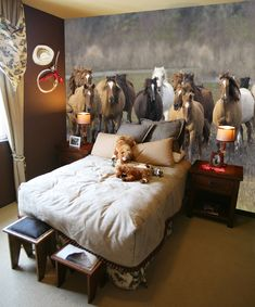 horse mural - this might be a bit much for a nursery, but i love it!