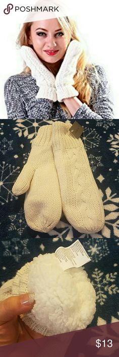 Laila rowe mittens adults NWT Off white knitted mittens very soft,with faux fur lining on the inside for extra warmth one size fits most. Laila rowe  Accessories Gloves & Mittens