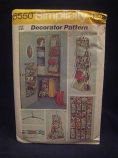 Vintage Sewing Pattern Simplicity Closet Organizer Home Dec $8.00 http://www.bonanza.com/listings/Vintage-Simplicity-5550-Closet-Organizer-Sewing-Pattern/39542135