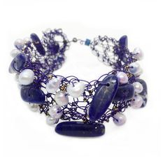 Lilac silver plated wire bracelet with pearls and sodalite stones  #lilac #purplebracelet #pearls #sodalite #statementbracelet #greekdesigners #greekjewelry #maria_kanale #oneofakind Lace Earrings, Yellow Earrings, Silver Earrings, Silver Pearls, Silver Roses, Greek Jewelry, Pearl Bracelet, Lilac, Stones
