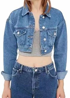 318663eb51c Hokny TD Women s Short Cropped Denim Jacket Button Front Long Sleeves Jean  Jackets Blue XS Cropped