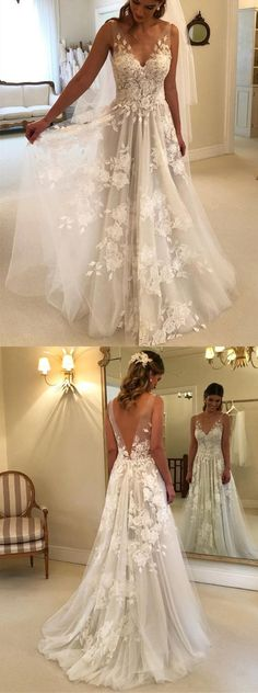 Princess Style A-line V-neck Tulle Floor Length Wedding Dresses Lace Embroidery