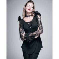 Haut Gothique Romantique orné de plumes, de dentelle et de laçages pour un style très Chic et raffiné! #Vetement #Tenue #Gothique