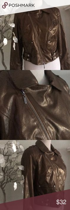 BISOU BISOU FAUX LEATHER JACKET Super cool modern jacket , zippers and snap enclosures , fun and chic , perfect condition, made if polyester Bisou Bisou Jackets & Coats Trench Coats