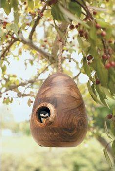 Wooden Egg Birdhouse