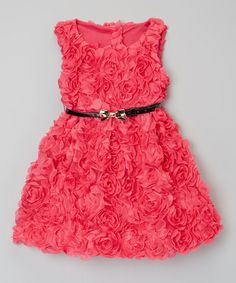 Sweet Charlotte Dark Pink Rosette Belted Dress