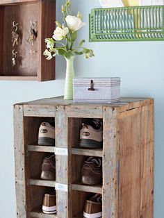 Store More  Pack your entryway with flea market storage to stop clutter at the door. Here, an old general store bin transforms a pile of shoes into an organized display. Labeled slots guarantee all members of your family will know where their shoes are supposed to go. Next, a small iron floor grate -- standard in older homes -- looks great mounted to the wall for mail storage.