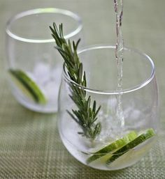 Cucumber-Rosemary Gin and Tonic  1 cucumber  1 lime  3 sprigs rosemary  2 oz. Hendrick's Gin  4 oz. tonic water (preferably Q or Fever-Tree)  ice