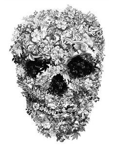 This is a drawing by Jacky Tsai and here I love how she put the flowers in a shape of a skull.
