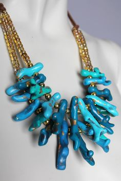 Chunky Turquoise Coral Necklace / Handmade Clay Beads / Blue One of a Kind / Statement Necklace / Aquamarine Natural Inspired via Etsy