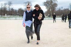 Street Chic: Style from Paris  girl on the left/in blue/white shirt has great style