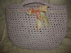 Crocheted Rag Rug Tote Bag by CreateVintageUpcycle on Etsy