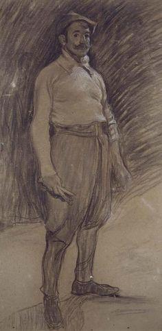 Ramón Casas i Carbó - Retrato de Mariano Benlliure (Portrait of Mariano Benlliure) Human Figure Drawing, Fine Art Drawing, Guy Drawing, Life Drawing, Drawing People, Painting & Drawing, Spanish Painters, Spanish Artists, Ramones