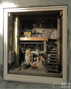 Miniature Room Box:  Basement of a large building in 1/12 scale.