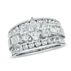 2 CT. T.W. Marquise Diamond Three Stone Ring in 14K White Gold orig $4,399.99 now $ 2,639.99. IF IT WAS PRINCESS, IT WOULD BE PERFECT