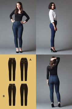 New Pattern: Safran – Deer&Doe • the blog. Safran is a high-waisted pair of skinny jeans or pants, with multiple details (belt loops, back patch pockets, front diagonal welt pockets). It comes it two lengths: classic jeans length, and cropped ankle length.