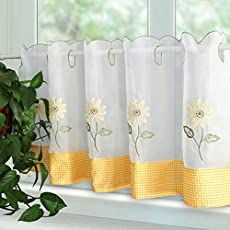 Shopping Cart Kitchen Curtains And Valances, Voile Curtains, Cafe Curtains, Country Curtains, Sunflower Cafe, Embroidery, Yellow, Floral, Fabric