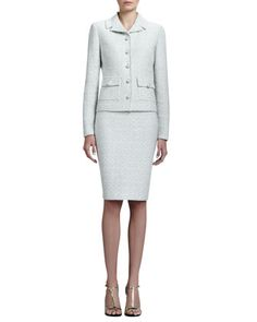 Crystalline+Tweed+Variegated+Jacket+&+Pencil+Skirt+by+St.+John+Collection+at+Neiman+Marcus.