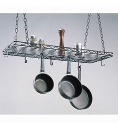 The Kitchen Hanging Pot Rack keeps your cookware at arm's reach and saves cupboard space with its eight hooks and ceiling mounting capabilities.