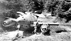 This Me-262 aircraft was found by advancing American forces abandoned at the Messerschmitt Scheppach Waldwerk (also known as Kuno AG. I) adjacent to the autobahn near Burgau in 1945. Its serial Werk Number is 111747.
