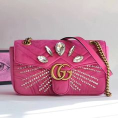2c43b19af03b Gucci GG Marmont Velvet Small Shoulder Bag With Crystals 443497 Pink 2018 Gg  Marmont, Gucci