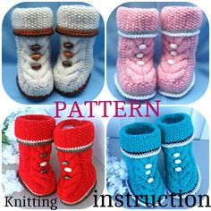 P A T T E R N Baby Booties Baby Shoes Pattern Knitted Baby Booties Knitting Pattern Baby Booty Baby Uggs Patterns Baby Boots ( PDF file )