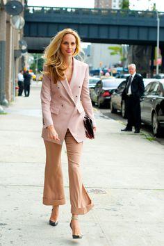 inspiration from Lauren Santo Domingo at Prabal Gurung:  pink blazer with pinkish beige silk pants