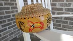 Gourd, pine needle rim, hand painted Southwest Indian totems and motifs. by Eclectasism on Etsy