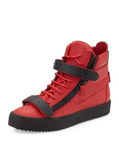 Men\'s+Matte-Leather+High-Top+Sneaker,+Red+by+Giuseppe+Zanotti+at+Neiman+Marcus.