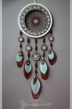 Dreamcatcher by MariMagsha My internet store www. Diy Arts And Crafts, Diy Craft Projects, Dream Catcher Decor, Beautiful Dream Catchers, Dream Catcher Native American, String Art, Suncatchers, Wind Chimes, Internet Store