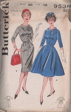 MOMSPatterns Vintage Sewing Patterns - Butterick 9536 Vintage 60's Sewing Pattern SIZZLING Rockabilly Step In Button Band Front Slim Sheath or Full Flared Skirt Day Dress, Tie Collar Size 16 MISSING SHEATH SKIRT