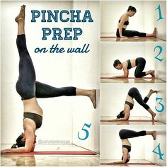 This might be the second in a looong series of the #overachieversguidetoyoga posts covering #pinchamayurasana! I got a lot of requests from my last guide post, asking for how to work toward #pincha if you're not kicking up against a wall just yet. So here goes! . 1) Sit with feel flat to the wall. 2) Mark where hands are alongside the hips and turn around to place elbows shoulder distance apart where fingertips were 3) From dolphin pose (forearms down/parallel, hips lifted), step one foot up