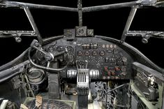 The cockpit of the Avro Lancaster 1, the famous WW2 Heavy Bomber  © Trustees of the RAF Museum : Notice, they didn't have a co-pilot!
