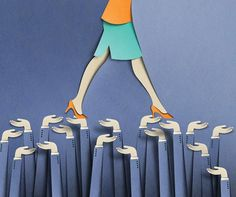 Papercraft illustrations for New York Times - Helping Women 'Lean In'.
