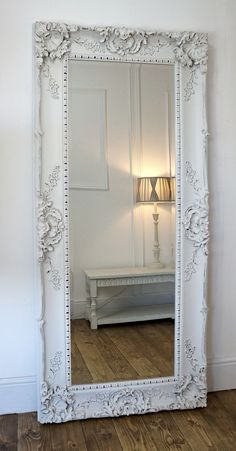 Gerona white shabby chic full length vintage dress mirror for Long mirrors for bedroom