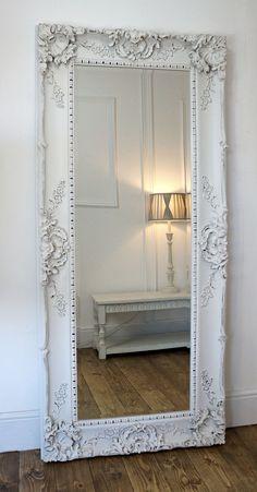 "Grasmere White Ornate Rectangle Antique Wall Mirror 31"" x 69"" X Large   eBay"
