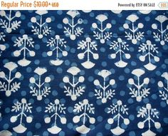 Flat 40% Off Floral Cotton Fabric Indigo Dabu Mud by theDelhiStore