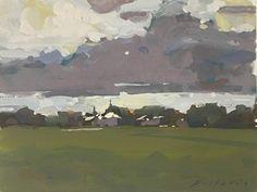 Approaching Storm by Bernard Dellario, Gouache, 8 x 10