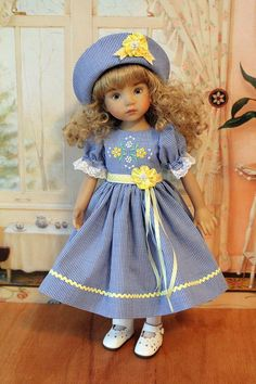 Spring Dress and Hat for 13 Inch Effner's Little Darling Dolls